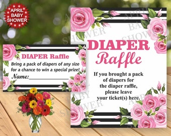 Floral Baby Shower Diaper Raffle Ticket Cards and Sign Flower Printable Instant Download Pink Flowers White and Black stripes DRF4 Girl 20