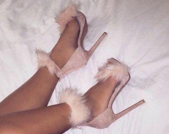 Faux fur pumps