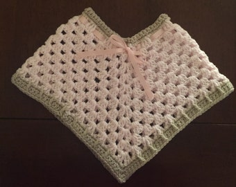 Crocheted handmade Girl's Pink and Brown Poncho