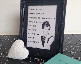 Framed Typography Embellished Quote – Audrey Hepburn