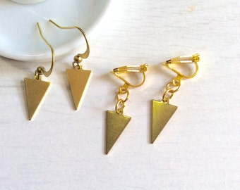 Earring, ear minimalist jewelry, buckle/clip, gold - triangle/double triangle,