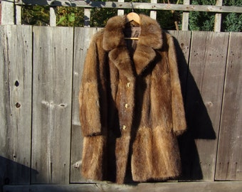Vintage Mink Coat Real Fur Lush Brown Autumn Winter Fashions Size 12
