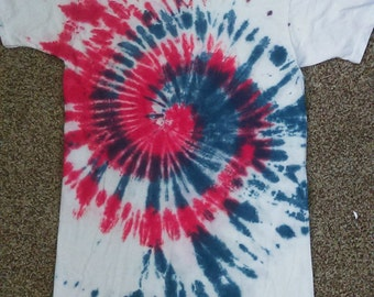 Kid's Large Patriotic red, white, and blue spiral tie dye tshirt