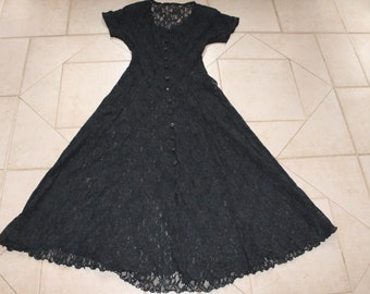 Black Sheer Lace Nylon Dress         Sz S/M
