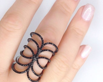Ballare Ring, black glamorous ring, high fashion ring, celebrity jewelry, celebrity style jewelry, black jewelry, statement ring black