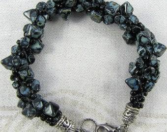 Blue stone bracelet with exquisite silver end caps