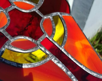 Cross stained glass suncatcher red yellow Christian theme