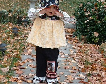 Girls outfit, Mary  Engelbreit fabric vintage chenille, Toddler Outfit