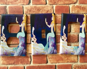 Mermaids 'Lounging' Peter Pan Mermaid Lagoon light switch plate cover