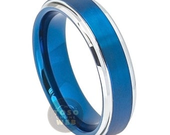 Men's 6mm Stepped/Beveled Edge High Polish with Blue Ion Plated and Brushed Center Tungsten Carbide Wedding Band TS7270
