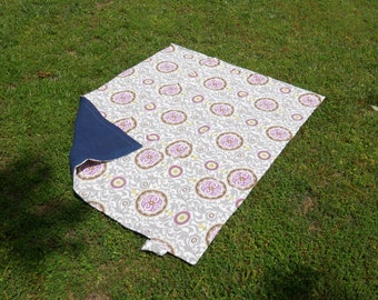 Purple, Yellow, Gray Floral Picnic Blanket, Roll up Ties