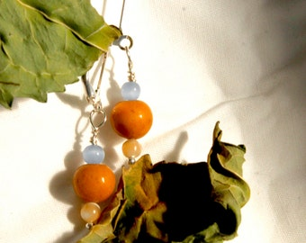 Amber and Blue, Stone and Glass Bead Earrings