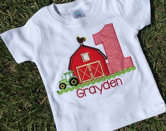 Personalized Farm First Birthday Applique Shirt