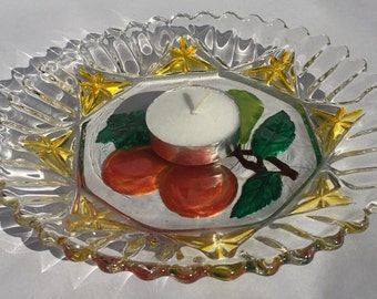 Hand-Painted Glass Candle Holder Dish
