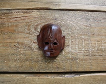 Mini Wooden Mask - Carved by Hand (Small/Decorative/Nepalese/Nepali/Nepal/Tribal)