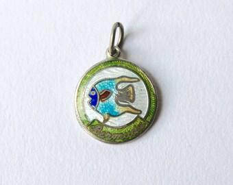 Vintage Silver Bermuda enamel Fish charm. Bermuda bracelet charm featuring a fish.