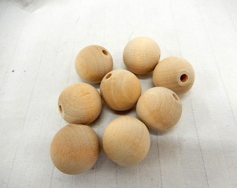 "Wood Bead Round - 20mm (50) 3/4"" with 1/8"" hole Unfinished Wood made in USA Craft Macrame Jewelry"