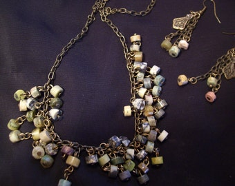 Hishi Beads Necklace and Earrings