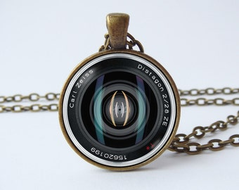 Lens necklace Camera pendant Photographer necklace Husband gift Camera jewelry Tourist gift Camera gift Traveler gift Black lens Camera gift