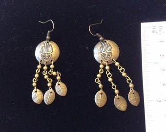 Antique Brass Paw Shield Earrings