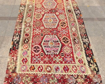 7 x 3 ft Handwoven vintage turkish kilim rug