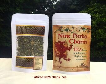 Mixed Anglo-Saxon Nine Herbs Charm Organic Tea & Black tea 20g SAMPLE Herbal Tea, Nine Sacred Anglo-Saxon Herbs