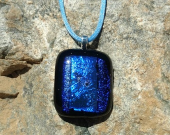 Dichroic Fused Glass Pendant, Black with Shimmering Purple and Blue, Handmade Necklace