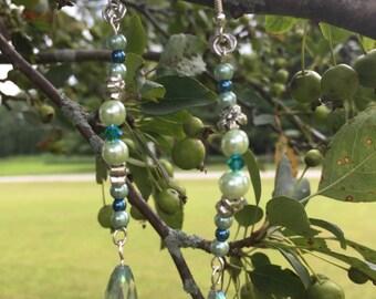Blue and green dangle earrings