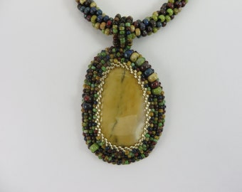 Earth Day,bead embroidered necklace,bead embroidery necklace,embroidered pendant,embroidery pendant,bead crochet necklace,mookaite OOAK