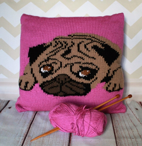 Knitted Pug Pattern : Knitting Pattern PDF Download Percy the Pug Pet Portrait