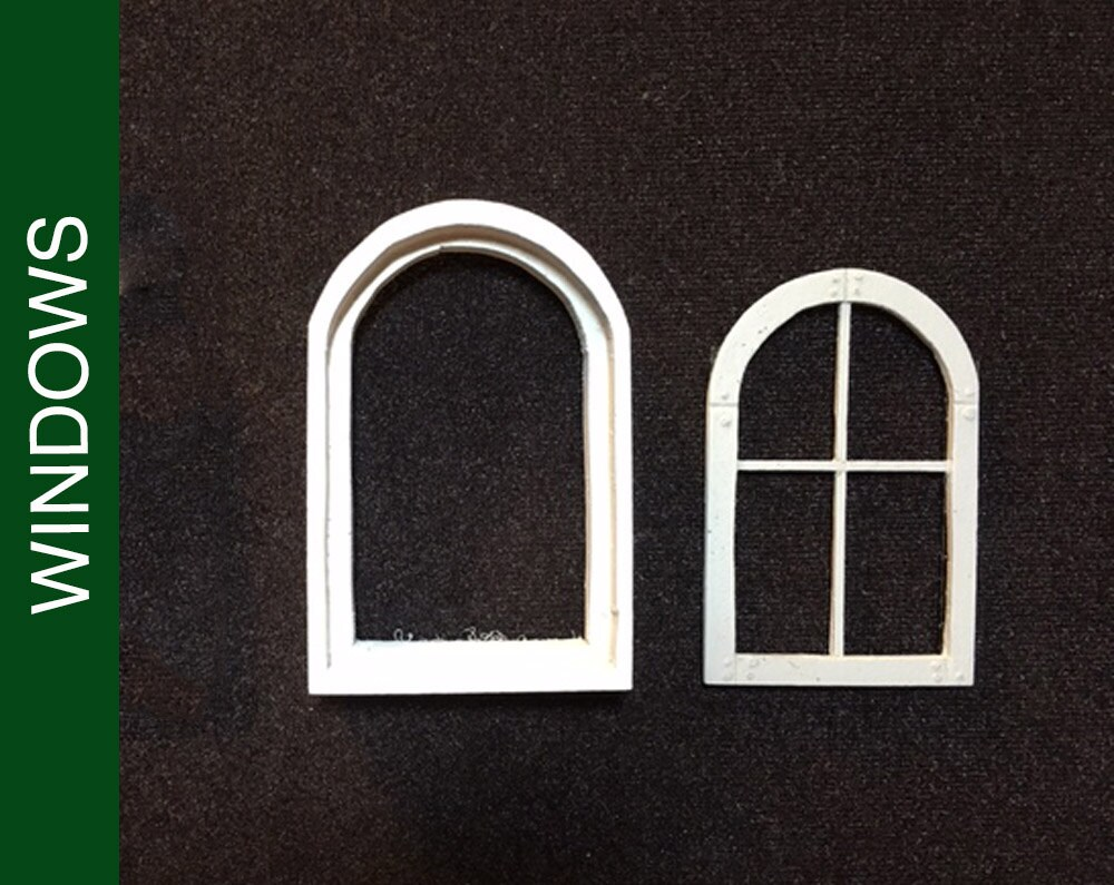 003 Sm Round Top Dollhouse Window With Frame And Mullions