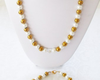 Swarovski® White Pearl Set-Pearl Necklace-Pearl Bracelet-White Pearls-Gold Bead-Crystal Rounds-Birthday Gift-Anniversary Gift-Bridal Jewelry