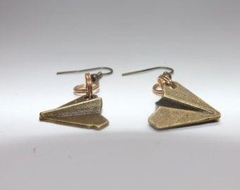 paper plane bronze earrings