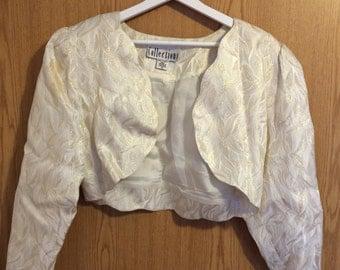 Gold and Cream Metallic Cropped Bolero Jacket