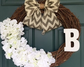 White Wreath - Front Door Wreath - Monogram Wreath - Spring & Summer Wreath - White Hydrangea -  Chevron - Burlap