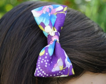 Purple Floral Vintage Bow Hairclip