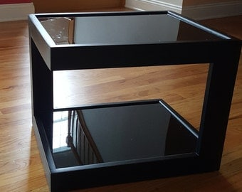 Black Coffee Table, End Table with cool illusion lights
