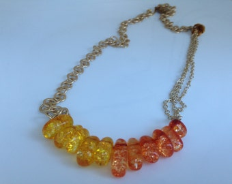 Orange and Yellow Amber necklace
