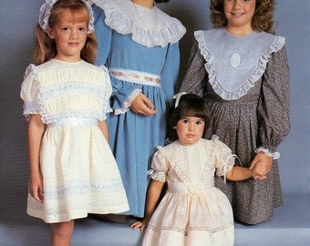 Dancing Needles The Four Collar Dress ~ Heirlooms with Machine Instruction ~ Sizes 2 to 6