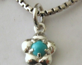 Genuine SOLID 925 STERLING SILVER December Birthstone Turquoise Daisy Pendant