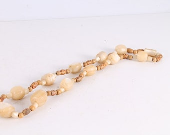 Antique Old Wood And Mother-of-Pearl Necklace.