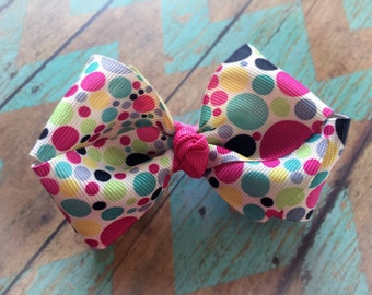 Multi color polka dots boutique bow with fushia knot center/ French Barrette/toddler,girl bow