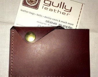 Tough card holder in chestnut leather.