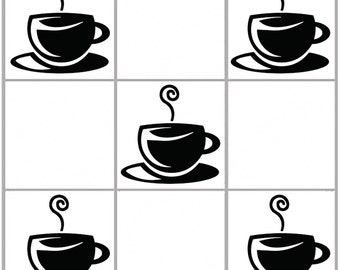10 x Coffee Cup kitchen wall tile vinyl decal #6