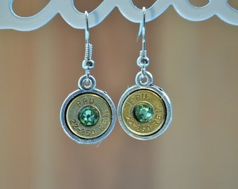 Antiqued Silver 22-250 Brass Dangle earrings with Peridot Swarovski Crystals