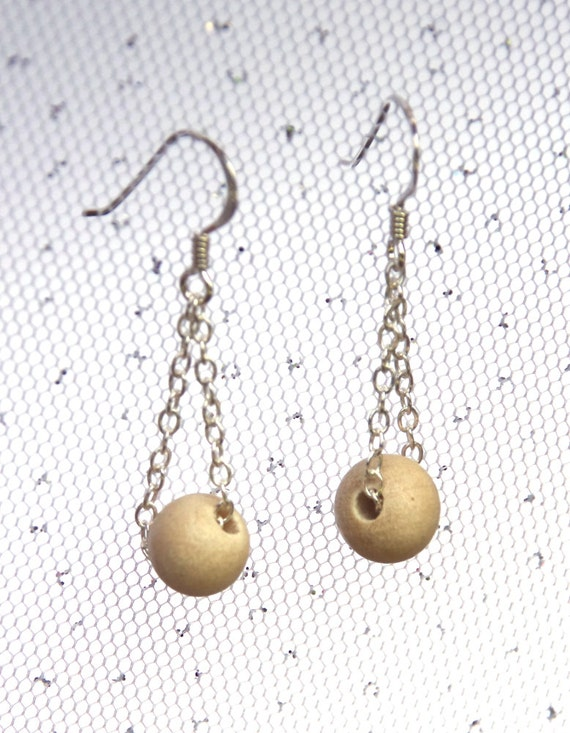 Wooden earrings - Ambabawod beads - Sterling silver components - White Wood beads - silver chain