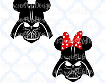 Darth Vader Mickey and Minnie Mouse Heads SVG,EPS,PNG,Studio