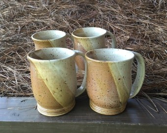 Hand thrown  Set of 4 Large Coffee or Tea Pottery Mugs