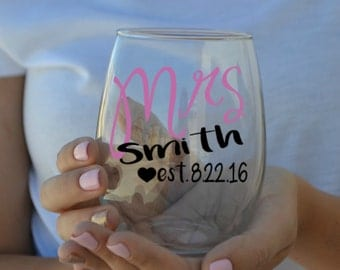 Mrs. - Wedding Date - Bride Stemless Wine Glass