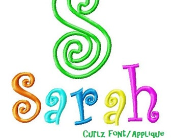 Curlz Embroidery Font & Applique, Instant Download, PES Format